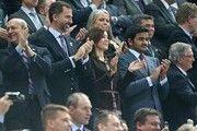 Prince Felipe of Spain, Princess Mary of Denmark and Sheik Joaan Bin Hamad Bin Khalifa Al-Thani, Chairman of the Qatar World Championships 2015, at the Men's Handball World Championship 2013 Final, Spain vs Denmark 35-19, held at the Palau Sant Jordi stadium, Barcelona, Spain.