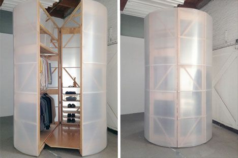 Tuberoom portable closet. Made of a light pine frame and corrugated vinyl, the structure is easily movable, and can also be built to a shorter height to accommodate lower ceilings. The built-in storage spaces in the interior can easily be changed out to offer varying functions.  Read more: http://dornob.com/tuberoom-portable-lightweight-translucent-walk-in-closet/#ixzz2h4dnQwQ8