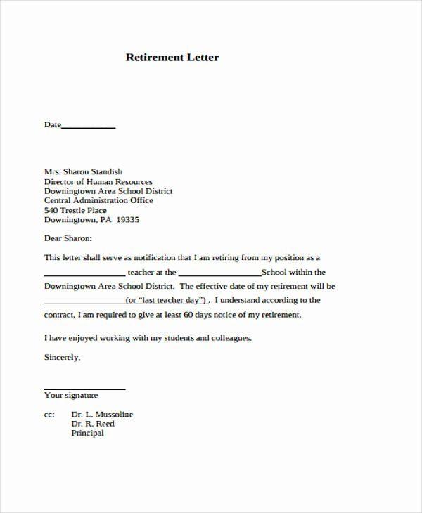 Sample Retirement Resignation Letter Awesome 12 Retirement Resignation Letter Template Fre Resignation Letters Retirement Resignation Letter Resignation Letter