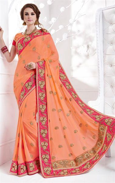 Picture of Tangerine Peach Premium Designer Saree