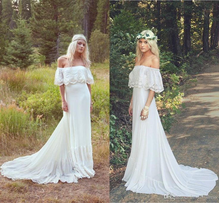 2016 Summer Beach Boho Wedding Dresses Bohemian Cheap Garden Bridal Gowns Strapless Lace Flower
