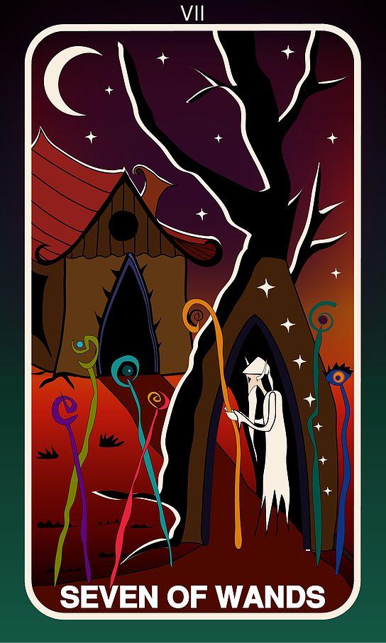 Tarot Card, Seven of Wands  #wands #witch #gothic #illustration #tarotdeck #children #tales #city #adventure #magic