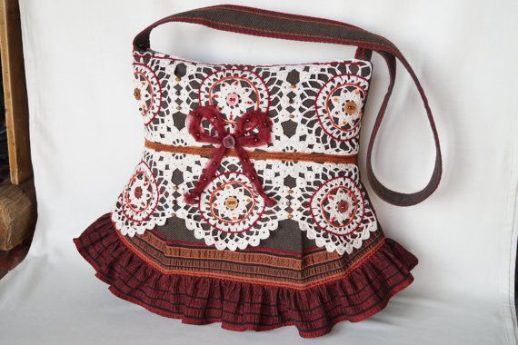 Beige brown crocheted lace bag large size bag by bokrisztina