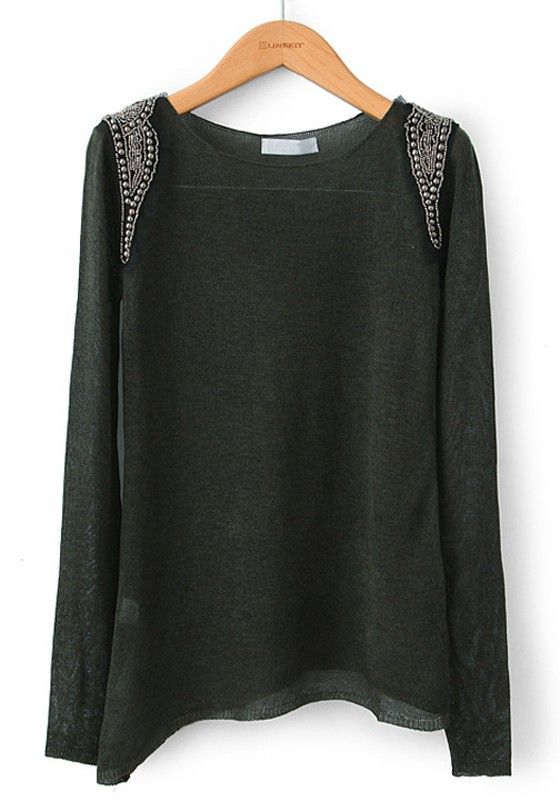 Thin cotton sweater that has beading on shoulders. Gorgeous with statement necklace:)