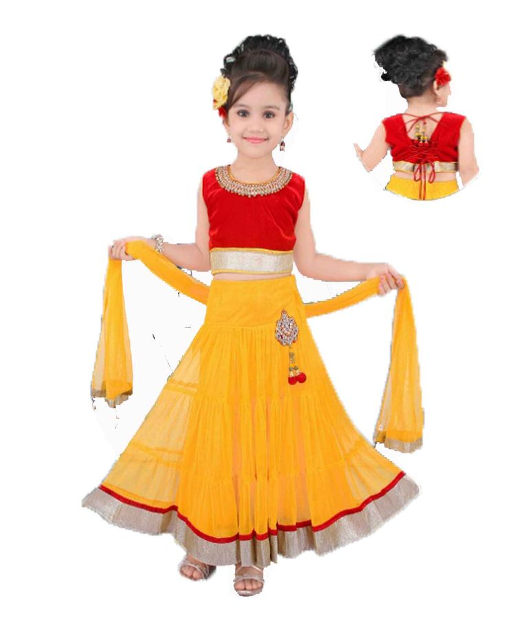 Kids red and yellow readymade lehenga  Velvet tops with nets lehenga size : 16, 18, 20, 22, 24 (1 years - 6 years) price : Rs 1450 - 1500 Free shipping all over India  http://www.princenprincess.in/index.php/home/product/398/Yellow%20and%20red%20lehenga