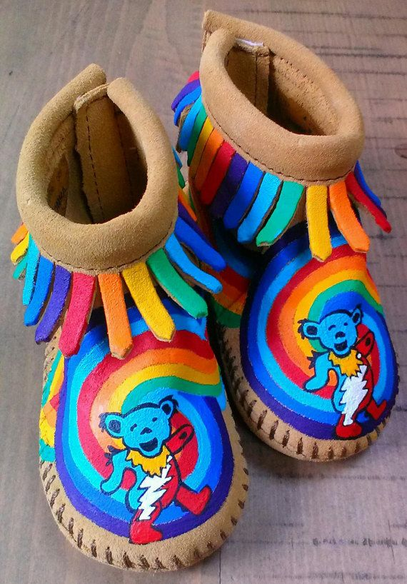 The ultimate, deadhead, Grateful Dead baby moccs! Good, good morning, so good to see you werent just a dream of mine... Custom, handpainted,