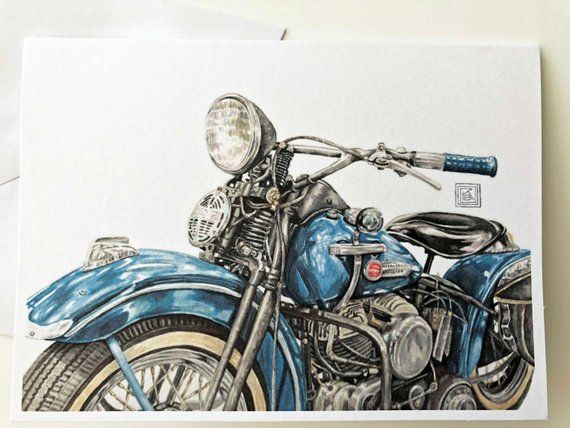 Vintage Harley Davidson Printed Watercolor Cards Set Of 8 Cards And Envelopes Greeting Cards Watercolor Cards Motorcycle Original Art Motocicletas Vintage Desenho Moto Imagens Vintage