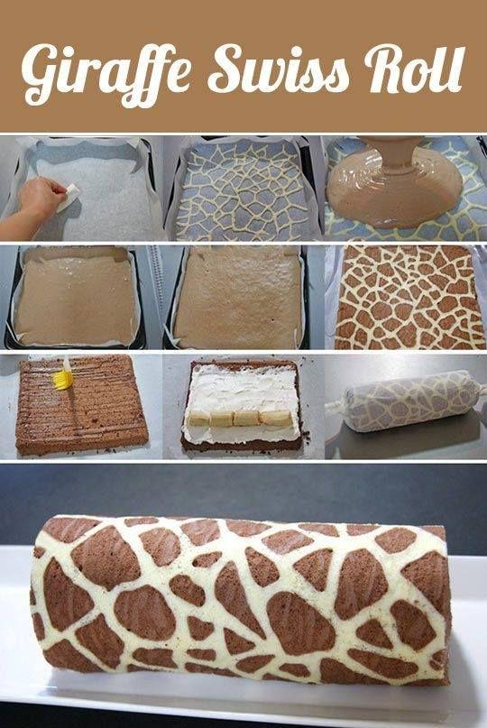 Giraffe Pattern Swiss Roll Recipe