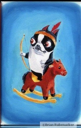 Boston Terrier Cowboy and Indian dog art magnet by rubenacker, $5.25