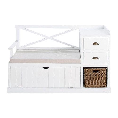 Mueble de entrada de madera blanco An. 135cm