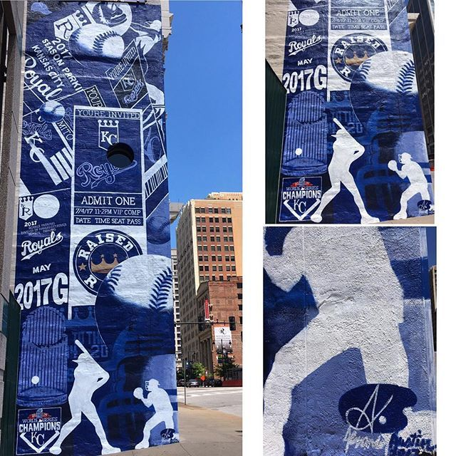 """I love how Kansas City is not only a fantastic """"sports town"""" but also a city that embraces art & supports artists. ⚾️ •  •  •  ______________________________  #kansascity #downtown #kc #raisedroyal #royals #mural #art #sports #baseball"""