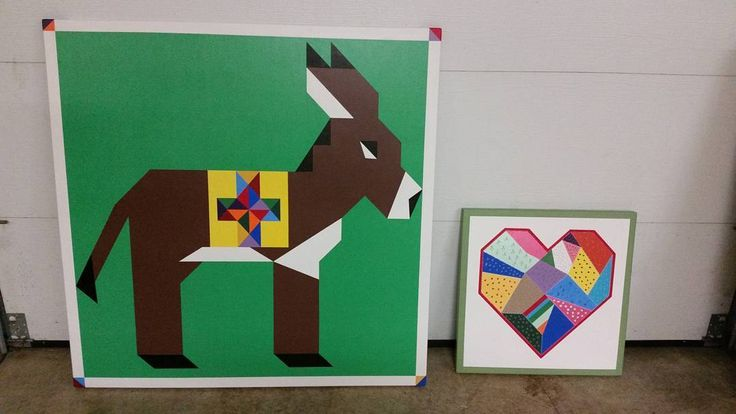 """Barn quilts for our quilt retreat center. The donkey will be hung on our mini donks (Bobbin & Stich) barn. The heart represents all the women retreaters who with their own """"scrappy"""" life stories are bound by common threads of creativity,  love and friendship.  #barnquilts #retreatcenter #donkey #patchworkquilt #quilted #painted #barnart #quilting"""