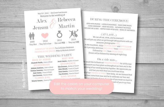 This is a digital file for a relationship timeline wedding program! This program is perfect for the modern bride, for your unique wedding, and to show your friends and family your style! Program: size 5 x 7  ♥ What you get ♥ - Microsoft Word program file - How to edit instructions