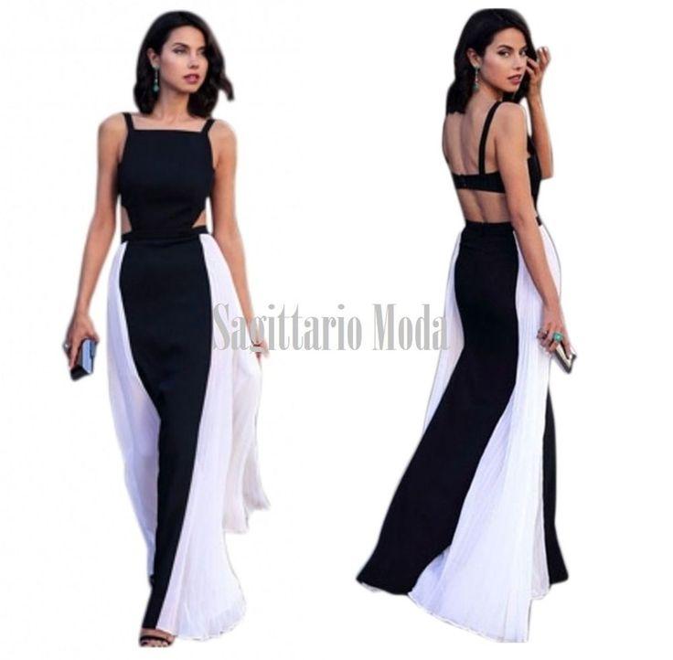 Abito lungo chiffon bianco nero maxi vestito plissettato smanicato estate dress