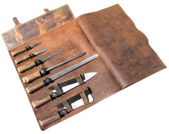 Professional Leather Knife Roll Chef S Bag And Knife Case 7 Knife Holders Khampa X 2020 皮革製品 製品 皮革