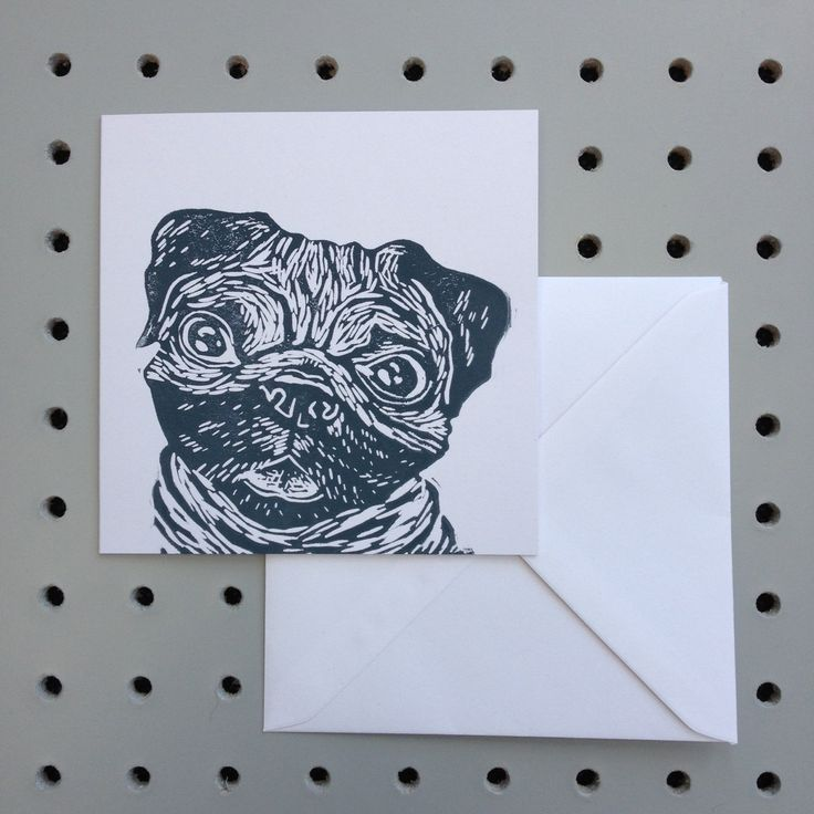 Happy Pug Print! handprinted greetings card. Birthday. Any occasion Blank inside for your own message. by HollyBowerMakes on Etsy