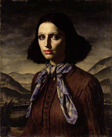 Dorette ~ Gerald Leslie Brockhurst, 1933... The painting is influenced by early Renaissance portraits such as Leonardo da Vinci's 'Mona Lisa'... In a series of paintings and prints, the artist attempted to form an ideal image of 'young womanhood' for the modern age. Dorette was the nickname given by the artist to his model, Kathleen Woodward, who became his second wife in 1947
