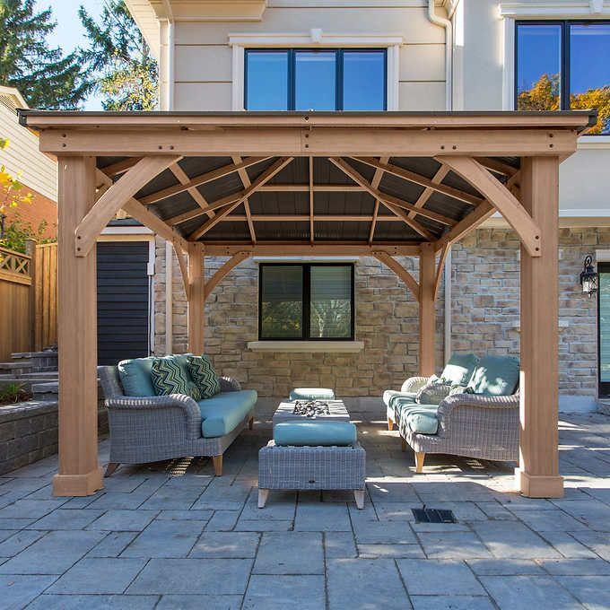 12 X 12 Cedar Gazebo With Aluminum Roof Outdoor Pergola