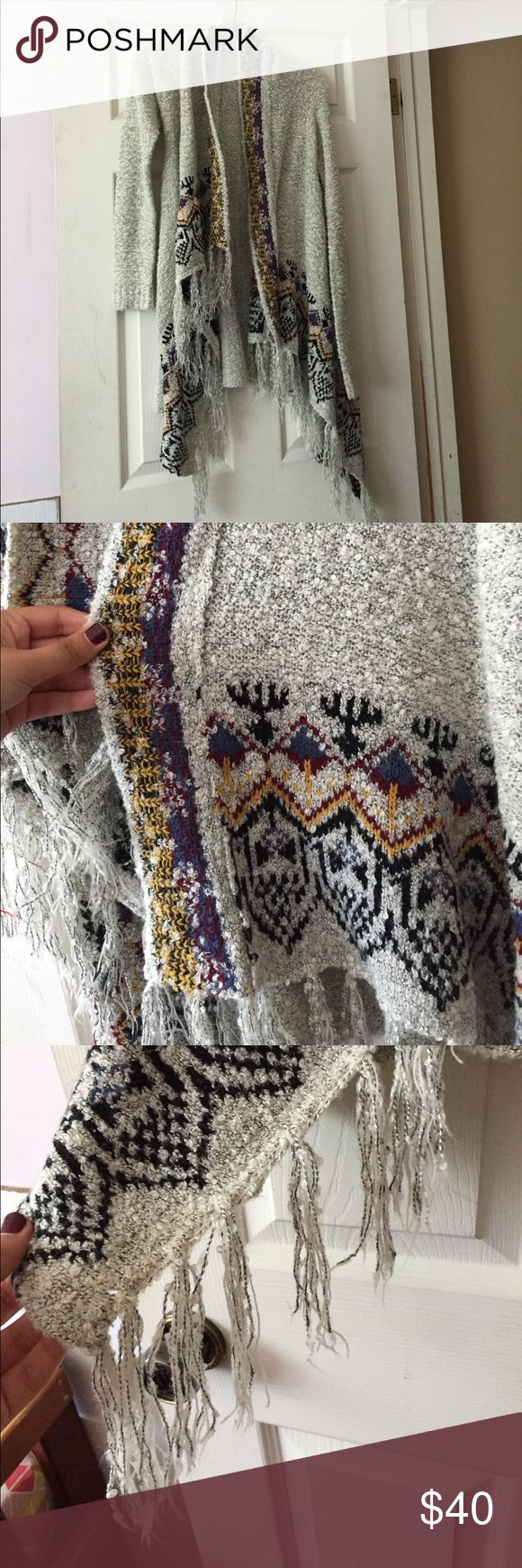 Knit Fringe Tribal Print Cardigan Excellent condition! Size small. Urban Outfitters Sweaters Cardigans