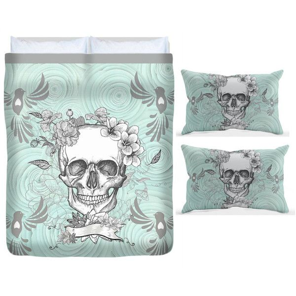 Skull Bedding Sugar Skull Duvet Cover Pillow Shams Bedding Sets Mint... ($119) ❤ liked on Polyvore featuring home, bed & bath, bedding, duvet covers, home & living, silver, king size duvet cover sets, king bed set, queen duvet set and twin bedding sets