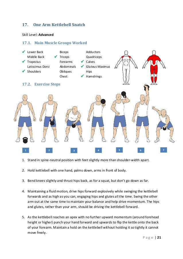 17.  One Arm Kettlebell Snatch  Skill Level: Advanced  17.1. Main Muscle Groups Worked  Lower Back Middle Back  Trapeziu...