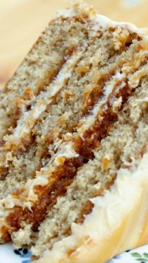 Salted Caramel Layer Cake Recipe ~ Layers of brown sugar cake filled and topped with caramel frosting and a drizzle of fresh caramel & fleur de sel... decadent, delicious and almost sinful!