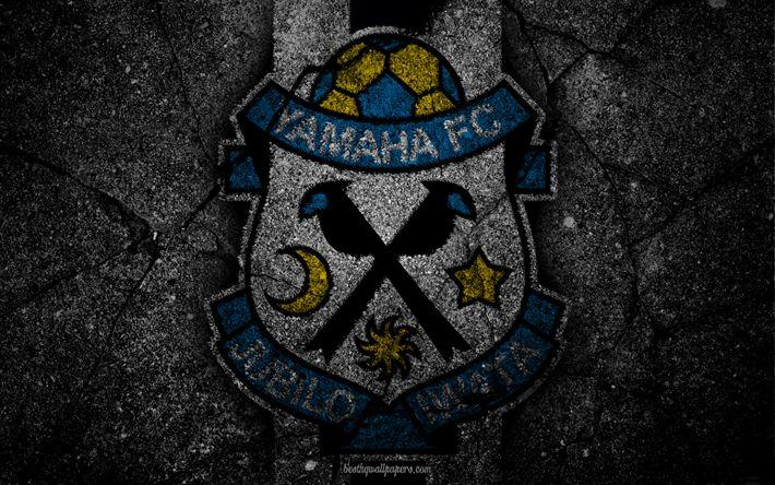 Herunterladen hintergrundbild jubilo iwata, logo -, kunst -, j-league, fussball, fußball-club, fc iwata, asphalt textur, iwata