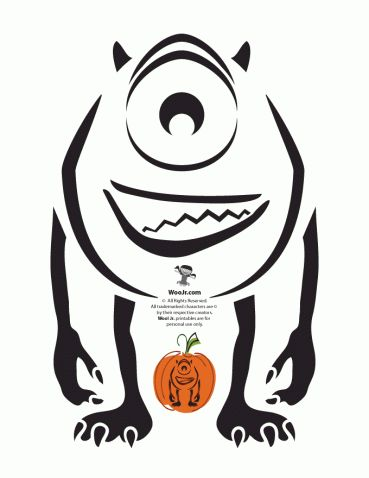 Best 25 disney pumpkin carving ideas on pinterest for Sully pumpkin template