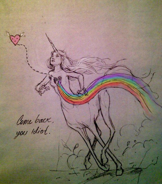 ~~Come back, you idiot~~ by Chiara Bautista. What a beautiful and inspiring piece. #unicorn
