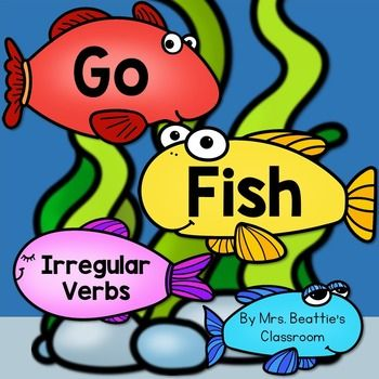 "This ""Go Fish"" style game includes 56 common irregular verbs in present and past tense, in both color and black and white versions. Use these cards a variety of ways, all year long! -Go Fish -labels for maps and posters -matching games -flash cards -memory games -spelling reference -use any way you wish! Be sure to take a look at the preview! Worried about printing in color?"