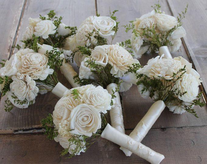 Bridesmaid Bouquet Set, Cream Sola Wood Bouquets, Cream Sola Wood Flowers, Cream Sola Flowers, Babies Breath Bouquet, Ivory Sola Bouquets