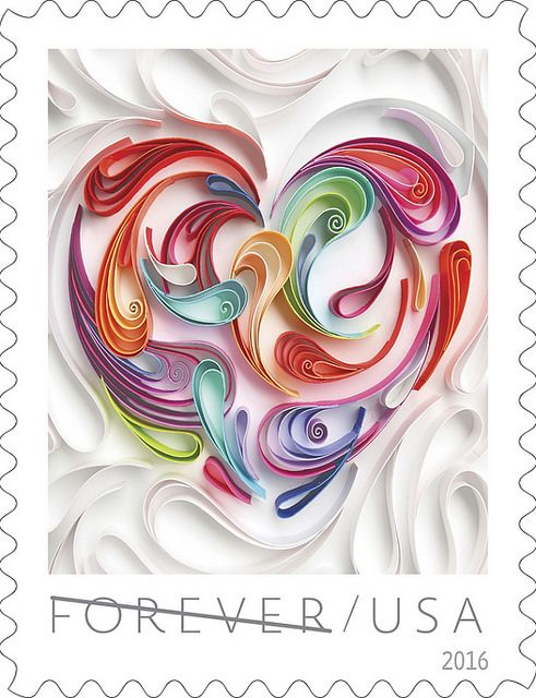"""On the blog: USPS Love Stamp 2016 - Quilled Paper Heart and a Call to Artists for an upcoming paper art exhibit, """"Chasing Paper""""."""