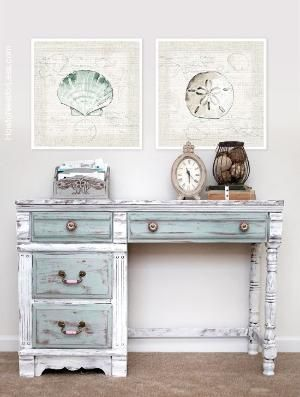 A lovely distressed desk painted in Pure White, Paris Grey & Duck Egg Blue Chalk Paint® decorative paint by Annie Sloan   By How To Nest For...