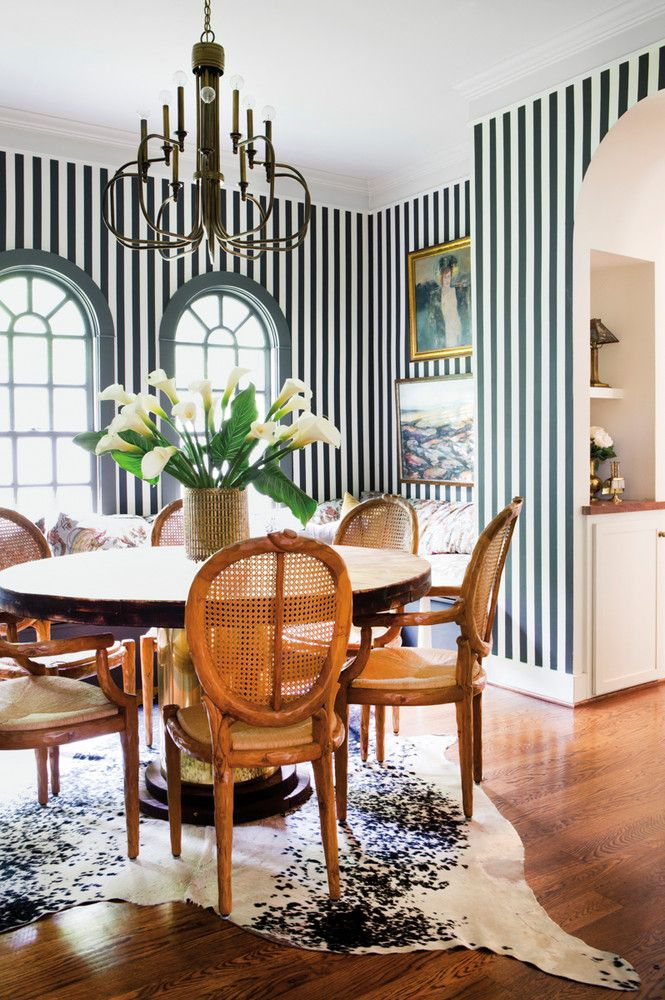 hand-painted cream-and-black–striped walls