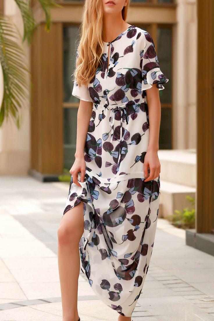 Flounce Ruffles Round Neck Half Sleeve Dress #jewelry, #women, #men, #hats, #watches, #belts
