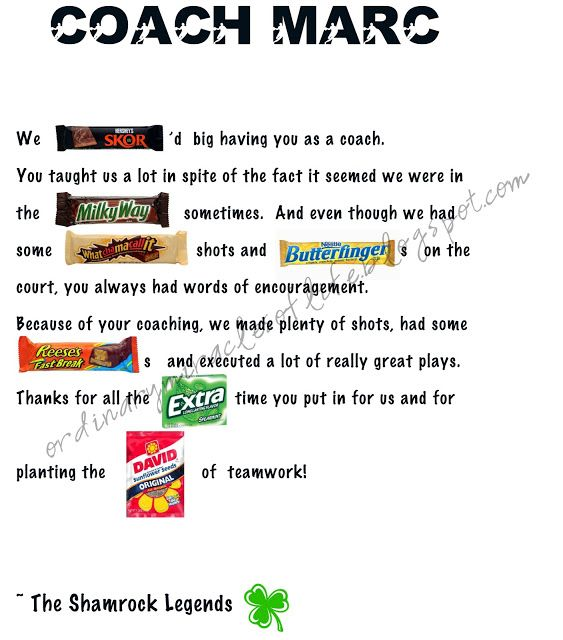 92 best Teacher/coach appreciation images on Pinterest Teacher - sample coach thank you letter