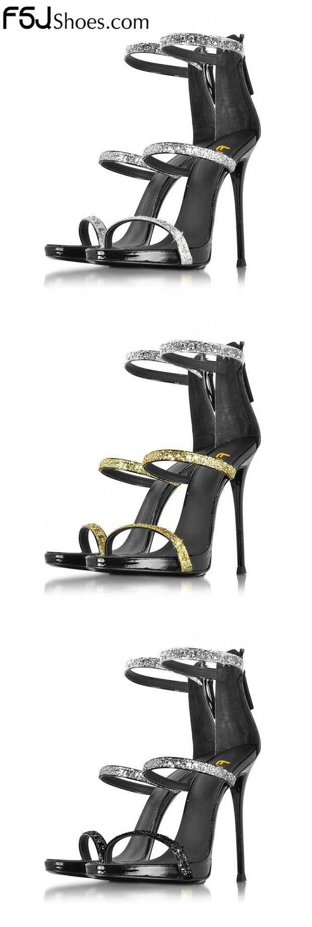 Women's Style Sandal Shoes Winter Fashion Prom Dresses Shoes Women's Silver and Gold Glitter Open Toe Stiletto Heels Ankle Strap Sandals New Year Party Outfit 2018 Spring Outfit 2018| FSJ