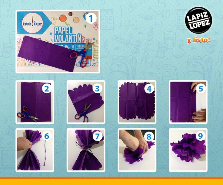 Utiliza tus materiales de Lápiz López para hacer este lindo paso a paso. ¡Y tendrás una gran flor para decorar!
