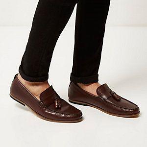 7a1de639204 Dark brown leather tassel loafers