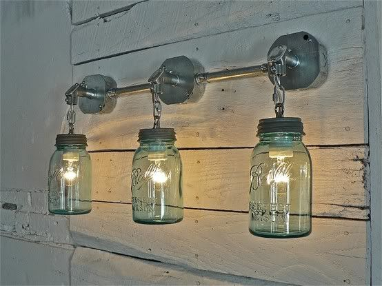 #springintothedream  Screen Porch Inspiration:  Porch Lights.  Is it a light or is it mason jar art?