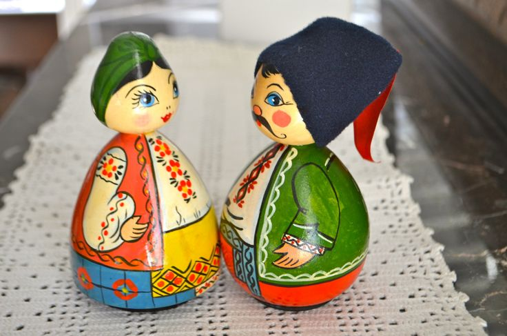 Russian Hand Painted Doll Set Woman and Man Folk Art Russia by StudioVintage on Etsy