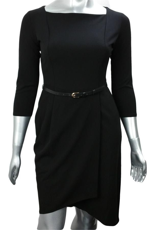Black wrap work dress with belt