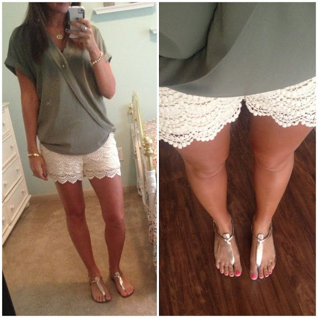 How+to+Wear+Lace+Shorts | lace shorts and top: forever21, sandals: sam edelman, necklace ...