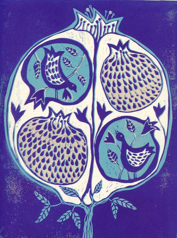 linocut Pomegranate tree in Purple and turquoise by artcanbefun linocutheaven