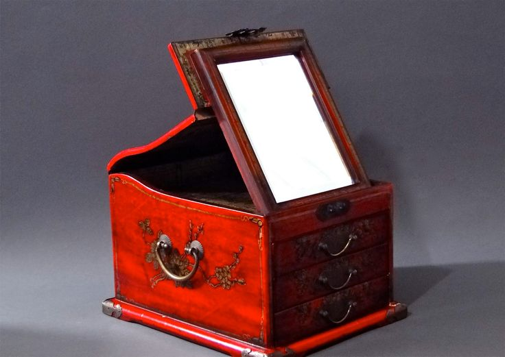 red asian jewelry box vintage storage lacquer painted wood stand up mirror three drawers brass hardware - Stand Up Jewelry Box