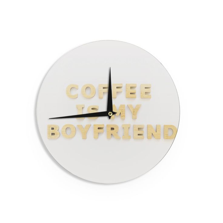 Kess InHouse Kristi Jackson 'Coffee Is My Boyfriend' Typography Beige Wall Clock (Coffee Is My Boyfriend), Tan (Wood)