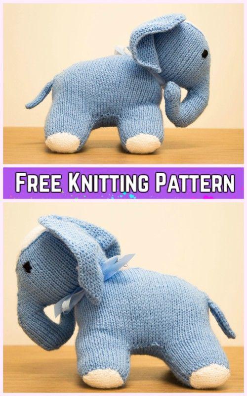 Knit Elephant Plush Toy Padrão de tricô grátis