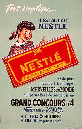 Cartel Chocolates Nestlé años 50 – Anuncios vintage Nestlé