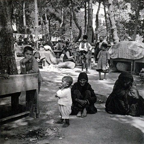Survivors of the massacre at Phocaea on the island of Mytilene a day after their arrival, 19 June 1914. Photo: Felix Sartiaux