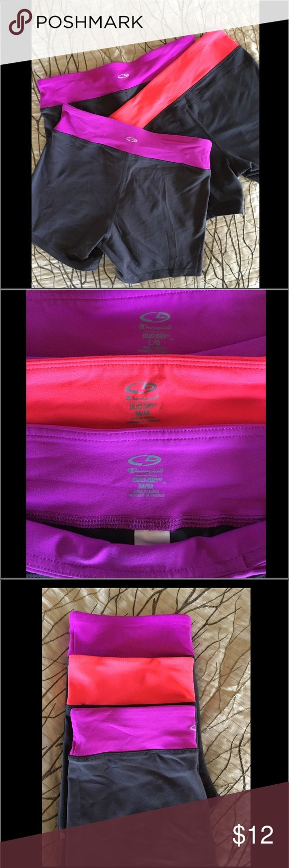 3 pair of Champion Duo Dry athletic shorts. Price is for all three! Red-ish pair have slightly different content then the purple. Shorts